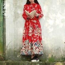2019 Spring Chinese style dragon design dress mandarin collar drawstring cotton linen robe 3 colors