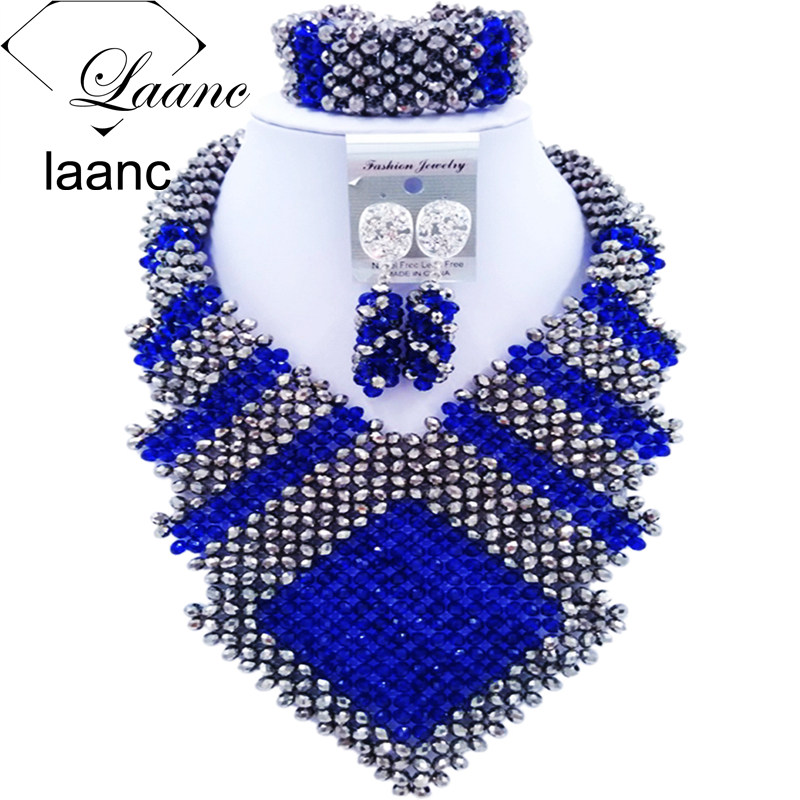 Laanc 2017 African Royal Blue Silver Beads Jewelry Set Bridal Wedding Party Jewelry Sets Nigerian Necklace and Earrings FK006Laanc 2017 African Royal Blue Silver Beads Jewelry Set Bridal Wedding Party Jewelry Sets Nigerian Necklace and Earrings FK006