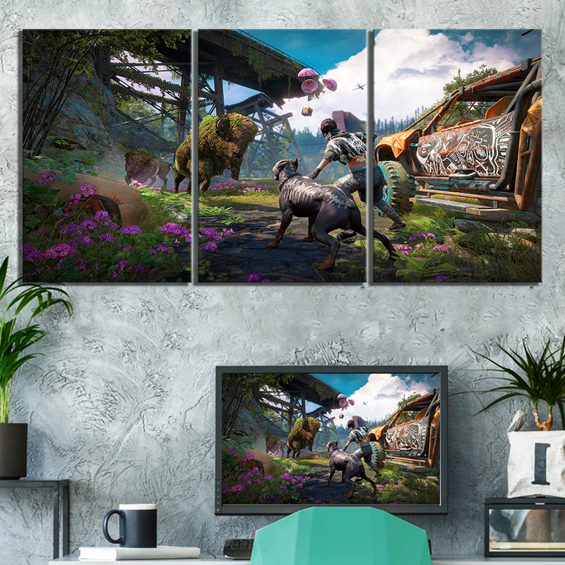 3 Piece Far Cry 5 Video Games Poster Paintings Far Cry New Dawn Game Scene Landscpae Wall Paintings Canvas Art for Home Decor image