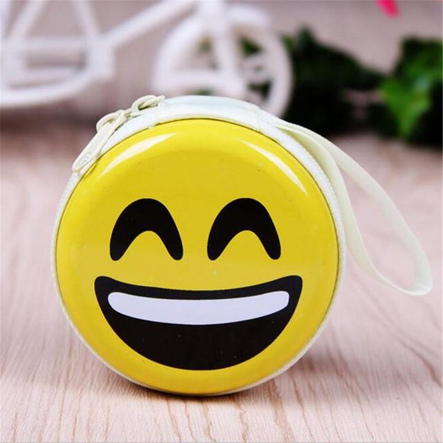 Portable Earphone Bag Emoji Emoticon Coin Purse Headphone Case Cable Storage Box Coin Purses & Holders