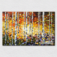 Modern oil painting forest autumn scenery pictures oil painting reproduction canvas painting for home decoration