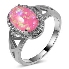 Hot Sale Exquisite Pink Fire Opal 925 Sterling Silver High Quantity Engagement Wedding Ring Size 5 6 7 8 9 10 11 A109