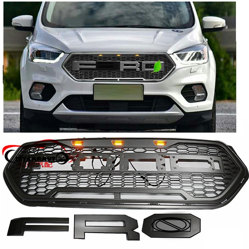 MODIFIÉ LED AVANT RACING GRILLE GRILLS MASQUE ABS PARE-CHOCS RAPTOR GRILL COVER FIT POUR FORD ESCAPE KUGA 2017 2018 MAILLE GRILL