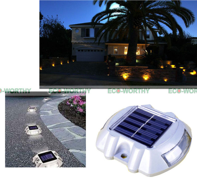USA Stock 4 Pack Solar Powered LED Marker White Path Lights for Walkway Garden Yard