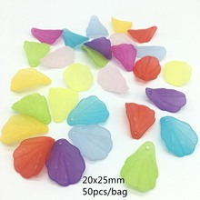 20*25mm 50PCS/bag MEIDEHENG Acrylic Beads Flower Petal Translucent Dull Polish Fit Jewelry Handmade DIY Craft Accessories