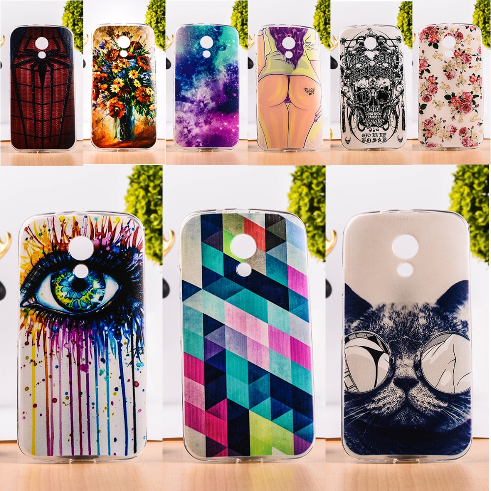 DIY Painted Soft TPU & Hard Plastic Phone Case For Motorola Moto G2 G+1 XT1063 Cell Phone Cover Anti-Knock Function Phone Bags