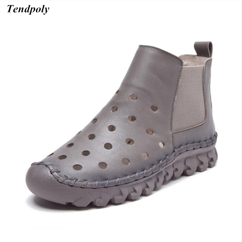 Spring summer new fashion women's shoes leather cool Female high Gang comfortable hole shoes soft soles of cattle women boots new fashion boots summer cool