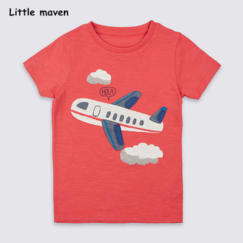 Little maven children 2018 summer baby boy / girl clothes short sleeve plane applique t shirt Cotton brand tee tops 50966