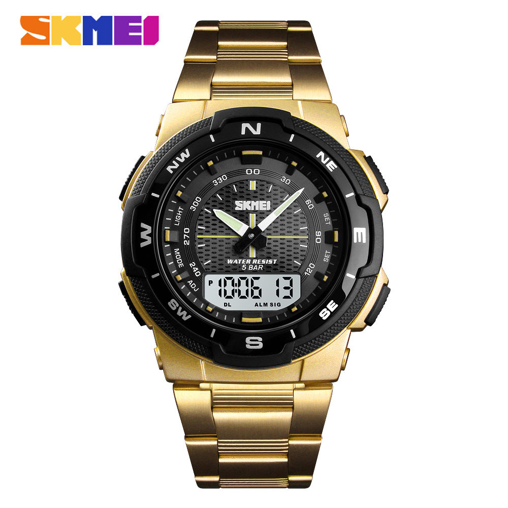 SKMEI Outdoor Sport Watch Men Fashion Brand 50m Waterproof Clock Dual Time Military Swim Quartz Watch Digital Relogio Masculino
