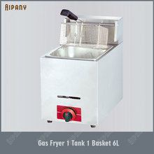 OT71/OT72 Gas Deep Fryer LPG Oil Oven Stainless Steel Counter Top 6L/Tank Temperature Control for Commerical Kitchen