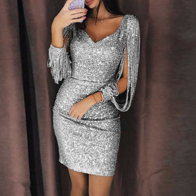 c5b90b4d05 Gold Silver Women Sexy Tassel Sequin Party Dress Slit Sleeve V-neck Club  Mini Dress Autumn Long Sleeve Elegant Sparkly Dress