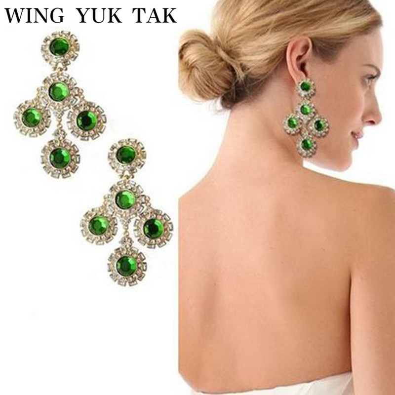 Aile Yuk Tak vert gemme Sexy étoile Style à la mode Vintage couleur or luxe cristal grandes boucles d'oreilles pour les femmes bijoux de mode