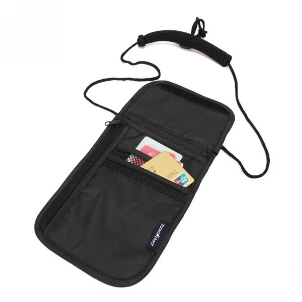 Anti-Theft Travel Passport Neck Bag Nylon Phone Wallet Pouch For Men And Women Mini Crossbody Bag Neck Wallet Passport Pouch
