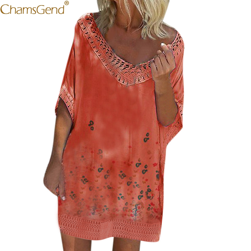 Beach Casual Print summer dress women summer dresses casual Print Bat Short Sleeve Low Cut Loose  dress elegant plus size Feb28
