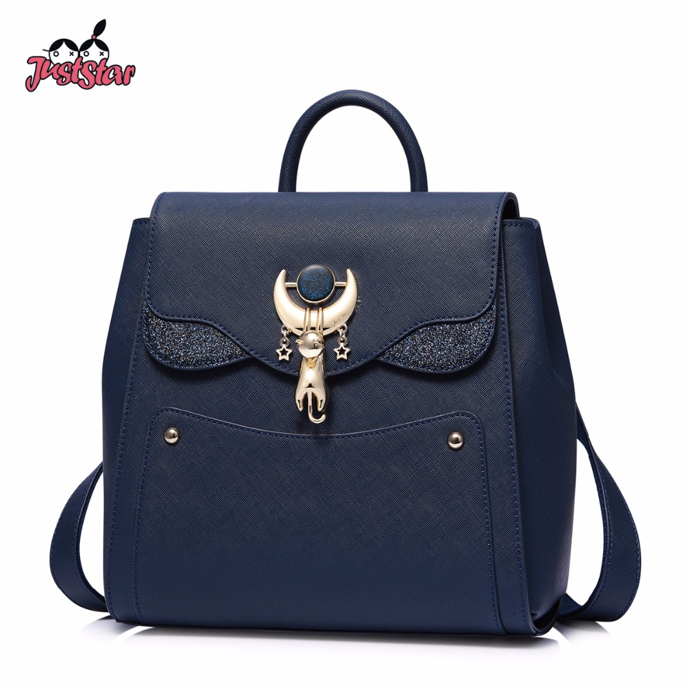 JUST STAR Famous Brand Women's Leather Backpack Female Fashion Cat Plant Double Shoulder Bags Ladies Leisure Travel Rucksack