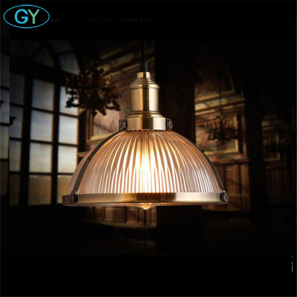 Retro Vintage Pendant Lights Clear Glass Lampshade Loft Bronze Chrome Pendant Lamps for Dinning Room Home Decoration Lighting