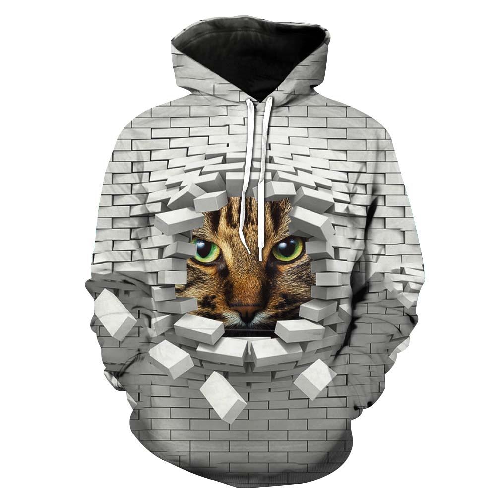 New 3D Hoodies Men Hooded Sweatshirts cat 3D Print hoodie Casual Pullovers Streetwear Tops Autumn Regular Hipster hip hop