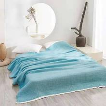 Three Layers Lightweight 100% cotton Soft Washed Cotton Gauzy Blanket Muslin Quilt Comforter Bedding Coverlet bedroom Throw