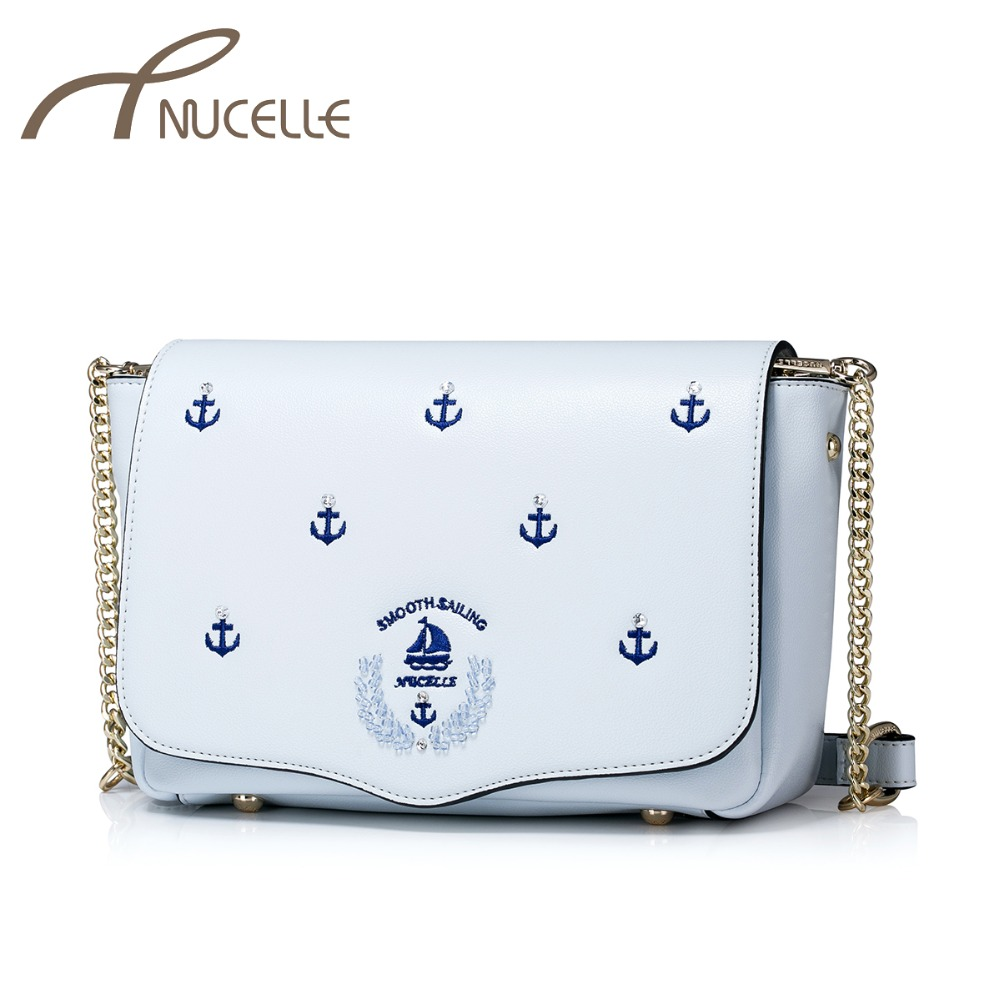 NUCELLE Women PU Leather Messenger Bag Ladies Summer Holiday Embroidery Shoulder Bags Female Chains Crossbody Purse NZ4037