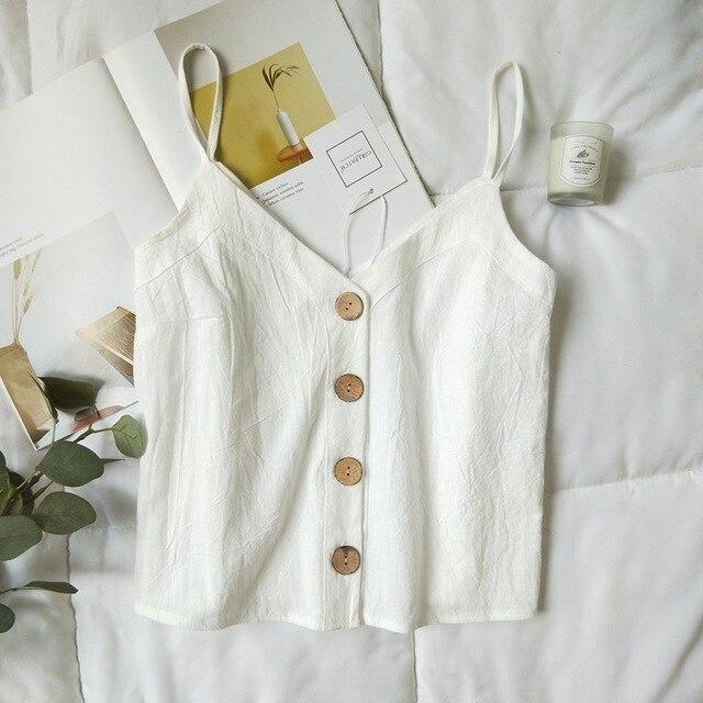 Cotton Linen V-neck Camisole Summer Women Vintage Buttons Cotton Linen Tops Sleeveless Crop Tops