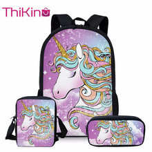 Thikin 3Pcs/set Cute Cartoon Unicorn Printing School Bags for Kids Primary Schoolbags Girls Large Capacity Book Satchel