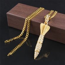 Men Women Golden Charm Darts Arrow Full Rhinestone Pendants Chains Hip Hop Bling Iced Out Punk Rocket Necklaces Jewelry Gifts