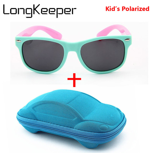 bf7701f341 LongKeeper Girls Sunglasses Kids Polarized Lenses Sun Glasses Children  UV400 Goggles Silicone Child Mirror Baby Eyewear