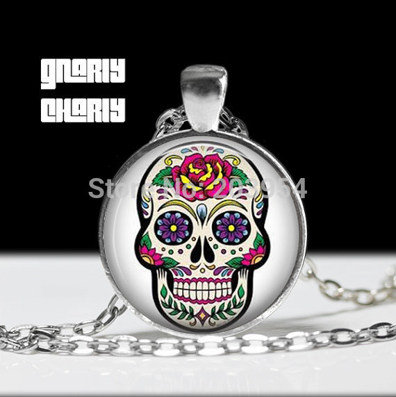Steampunk movie SUGAR SKULL 1pcs/lot bronze silver Glass mens Pendant skeleton jewelry womens friends gift drop ship necklace