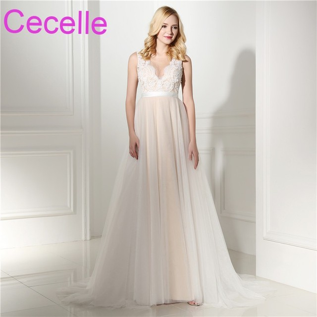 2018 New A line Lace Tulle Boho Wedding Dresses In Champagne V Neck ...