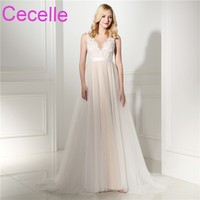 2018 New A line Lace Tulle Boho Wedding Dresses In Champagne V Neck Lace Top Tulle Skirt Sheer Back Sexy Bohemian Bridal Gowns