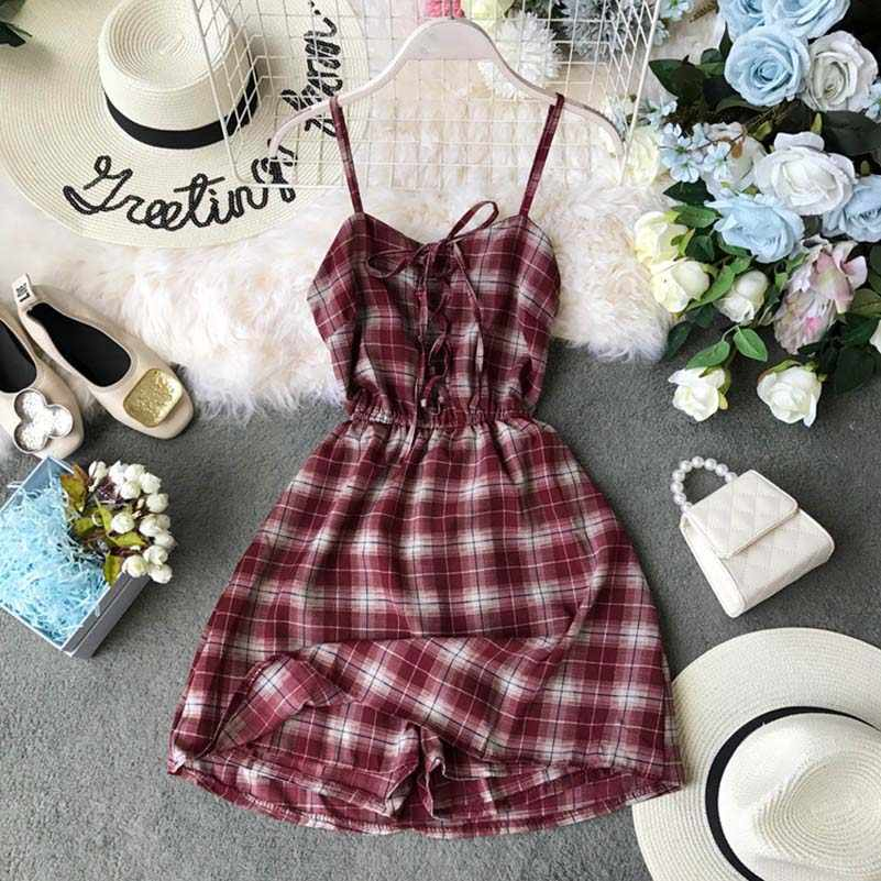 NiceMix Summer Bohemian Beach Mini Shorts Women rompe Casual Bandage Backless Plaid Print Sleeveless Shirt Short jumpsuit Female