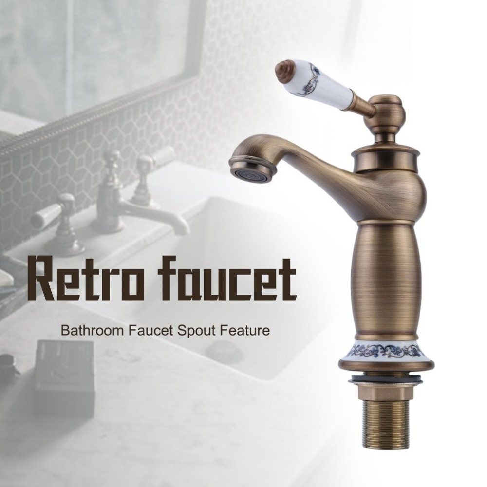 Universal Single Lever Faucet Household Hot Cold Water Tap Kitchen Sink Faucet Vintage Brass Bathroom Mixer Tap
