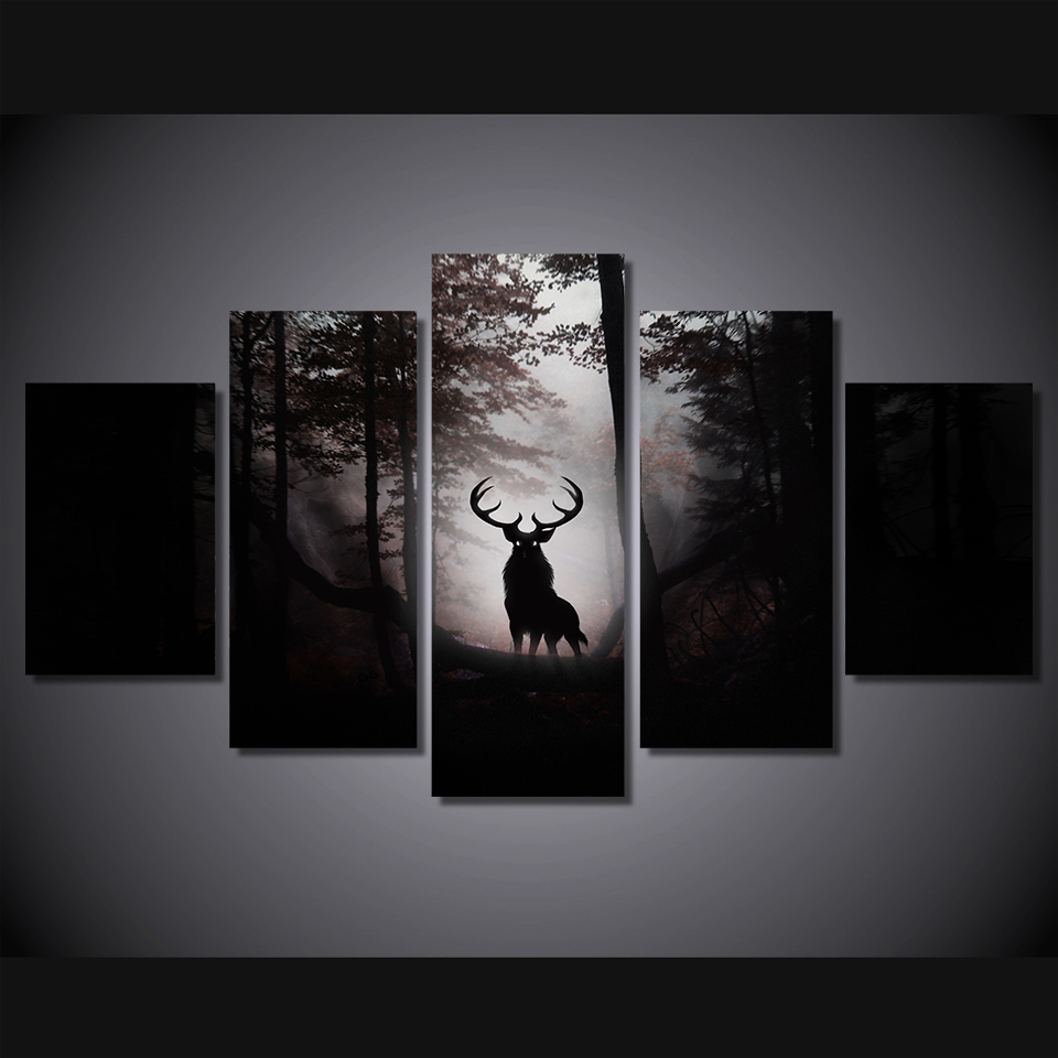 5 Piece Anime Canvas Art Painting HD Print Deer Wall Decorations Living Room Dark Night Modern Works Ny 6123 In Calligraphy From