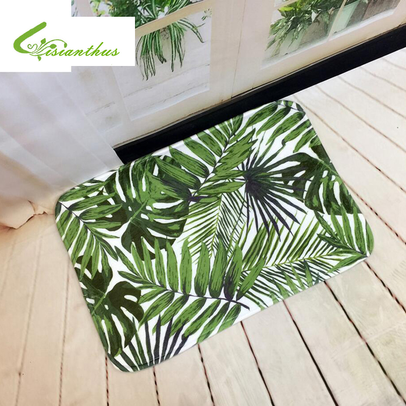 2018 Welcome Floor Mats Tropical Plants Printed Bathroom Kitchen Carpets House Doormats for Living Room Anti-Slip Tapete Rug