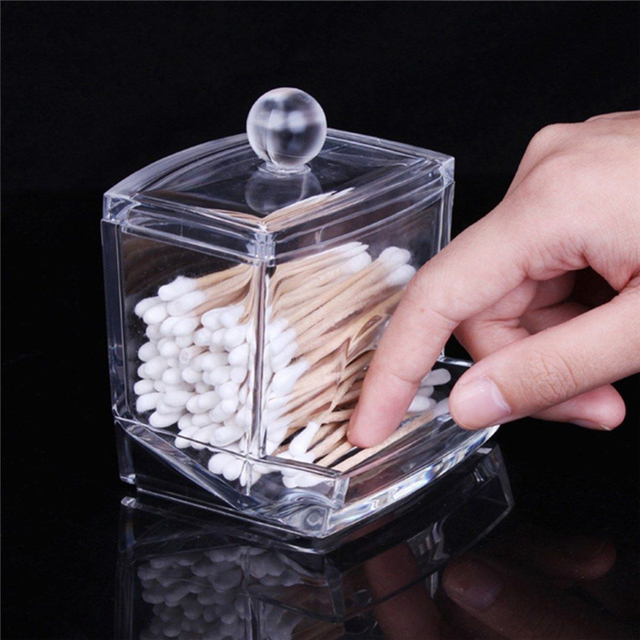 Clear Acrylic Cotton Swab Q Tip Storage Holder Box Cosmetic Makeup Case New