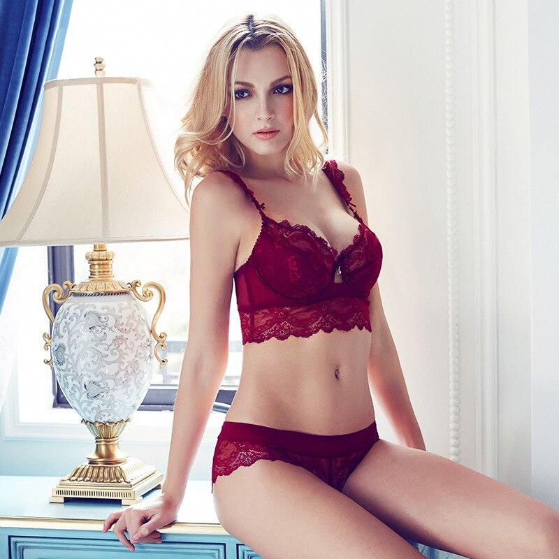 France Style Fashion Women Bra Set Thin Lace Hollow Out Underwear ...