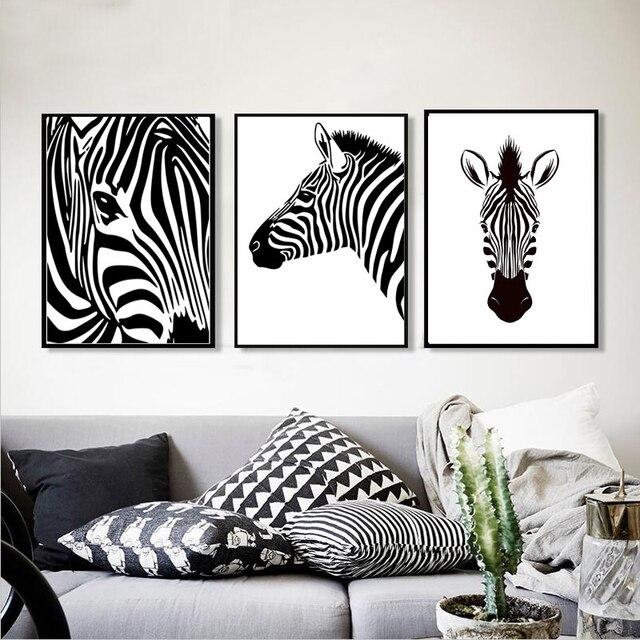 Moderne Minimalistische Dekor Bilder Zebra Malerei Auf Leinwand Abstrakte  Schwarz Weiß Wand Kunst Poster Zebras Drucke