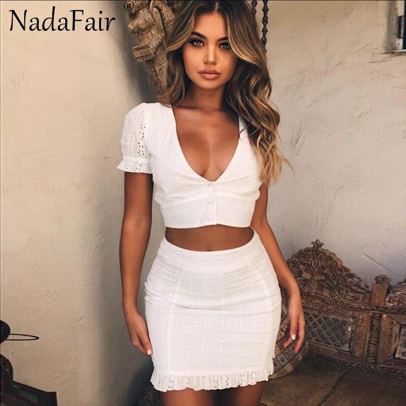 Nadafair cuello V blanco de encaje hueco mujeres verano vestido Casual volantes de dos piezas conjunto Vestidos