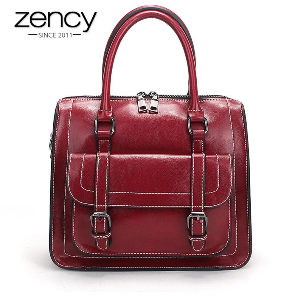 Zency Preppy Style Women Tote Bag 100% Genuine Leather Handbag Black Grey Fashion Lady Crossbody Messenger Purse High Quality