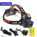 4000Lm CREE L2 U2 LED Zoom Zoomable Waterproof Headlamp Headlight Head lamp Light+18650 battery+EU/US/AU/UK Plug Car usb Charger