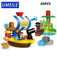 63pcs Pirate Hunting Building Block Educational Compatible Legoe Duplo 10514