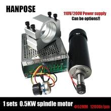 Freies verschiffen 0.5kw luftgekühlten spindelmotor ER11 spannfutter 500 Watt Spindel dc Motor & 52mm klemmen & Power versorgung drehzahlregler Für CNC