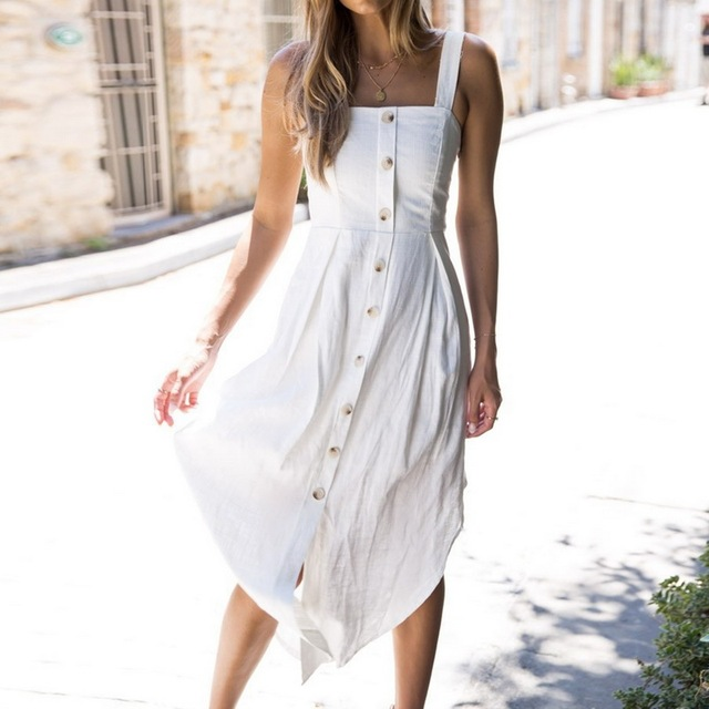 3cc0d0ded4e 28 Style Sexy Spaghetti Strap Button Dresses 2019 Bohemian Floral Tunic  Beach Dress Sundress White Striped Pocket Dress-in Dresses from Women s  Clothing on ...