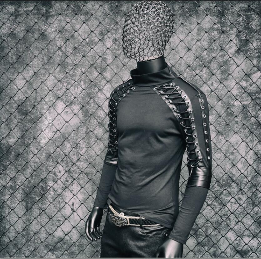 Disfraces de Punk rock para hombres cantante delgada Camiseta de manga larga diseño vendaje estiramiento hip hop club nocturno jóvenes tide ropa de cantante - 3