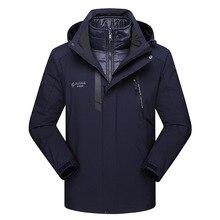 ZHAN DI JI PU бренд для мужчин размера плюс 5XL Мужская ветровка верхняя одежда 3 в 1 теплые куртки и зимнее пальто 142