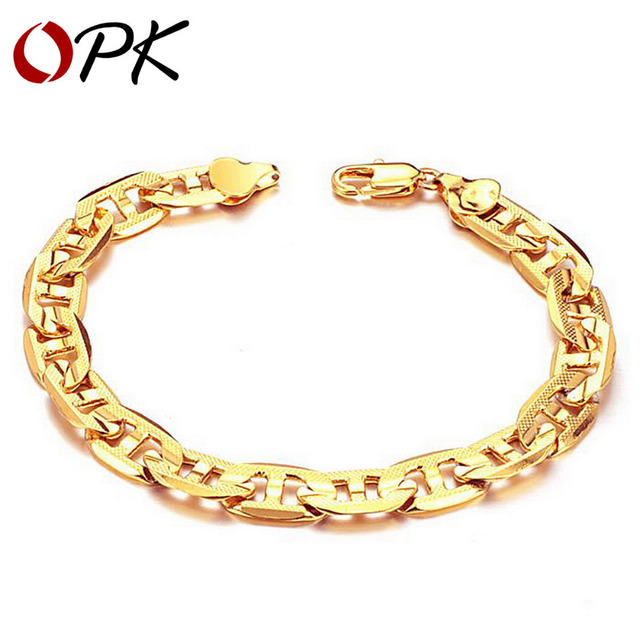 OPK Korean style 18K GOLD Plated BRACELET fashion gold plated jewelry Leisure link chain bracelet, gift for men/ boy 162