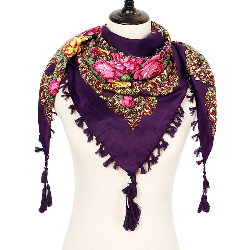 2018 Russia Fashion Flower Square   Scarf   Women Big Handmade Decorative Tassel   Scarf     Wraps   Ladies Winter   Scarf   New Blanket Shawl