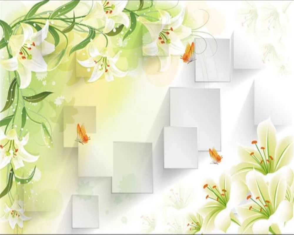 Background Warna Lembut Us 9 24 45 Off Beibehang Custom Photo Wallpaper 3d Photo Murals Lily Butterfly Frame Living Room Tv Background Wall Papel De Parede Wallpaper In