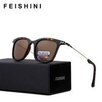 FEISHINI высокое качество мужской очки черный Винтаж Мода УФ узкий квадратные мужские солнцезащитные очки для женщин поляриодные бредовые диз...