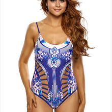 20ec6768ed969 One Piece Swimsuit 2018 Sexy Swimwear Women Bathing Suit Print Strappy Cutout  Summer Vintage Beach Wear